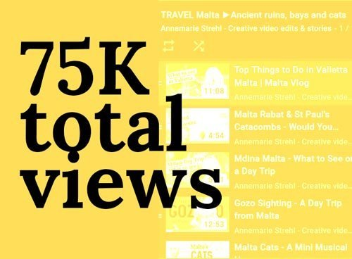 screenshot in yellow of playlist with text saying 75k total views